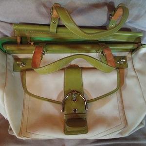 Coach Canvas Bag Beige/Lime Green A043-9367